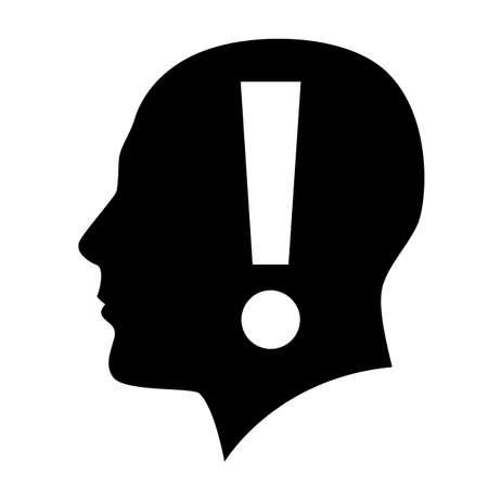 cerebro blanco y negro: Cabeza humana con el símbolo de exclamación en blanco