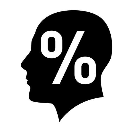 two minds: Human head with percent sign symbol on white Illustration