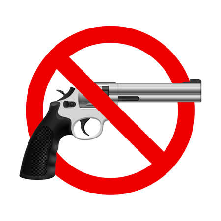 unlawful: S�mbolo No Gun. Ilustraci�n sobre fondo blanco