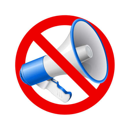 amplify: Megaphone or bullhorn with red not allowed sign or symbol