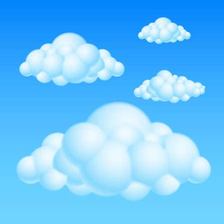 meteo: Cartoon Bubble Nuvole. Illustrazione su sfondo bianco per il design
