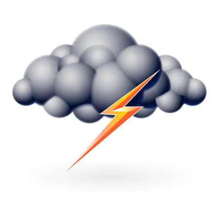 cielo tormenta: Burbuja de la nube con un rayo. Ilustraci�n en blanco