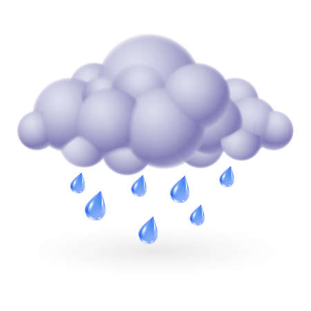 clouds cartoon: Icono del tiempo individual - nube de burbujas con lluvia