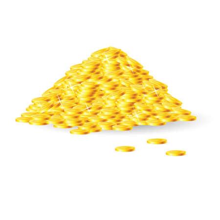Mucchio di monete d'oro. Isolato su sfondo bianco
