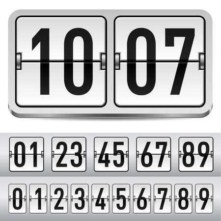 score board: Numbers of gray mechanical panel. Illustration for design