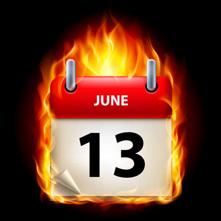 cutoff date: Thirteenth June in Calendar. Burning Icon on black background Illustration