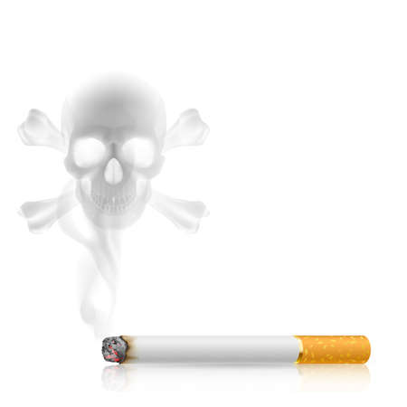 Skull shaped smoke  from cigarette  Vector
