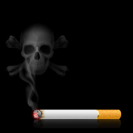 Skull shaped smoke comes out from cigarette on black Stock Vector - 15406037