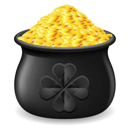 Black Pot full of gold coin. Illustration on white Vector