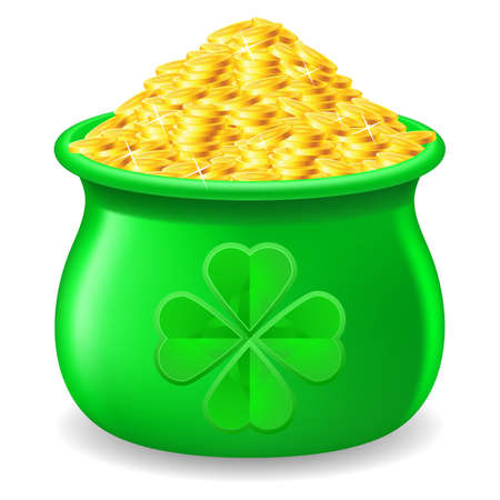Green Pot full of gold coin. Illustration on white Vector