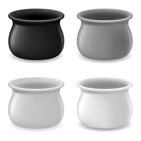 Collection of Empty Gray Pots. Illustration on white Vector