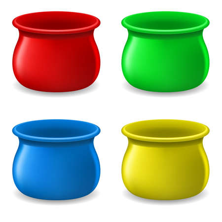 Collection of Empty color Pots. Illustration on white Stock Vector - 15406188