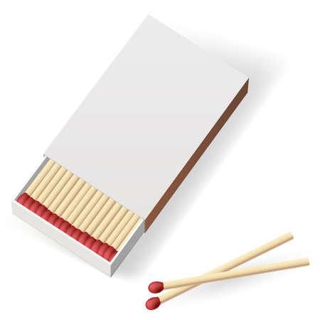caja de cerillas: Matchbox Realista. Ilustraci�n sobre fondo blanco