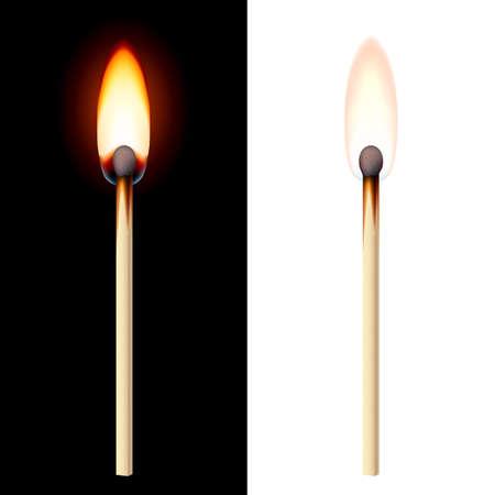 Realistische brandende lucifer op een witte en zwarte achtergrond.