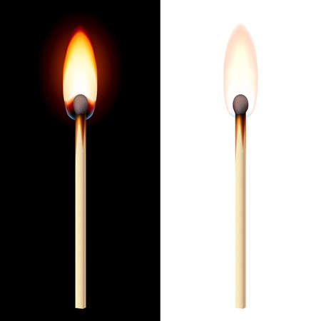 Realistic burning match on white and black background. Vector