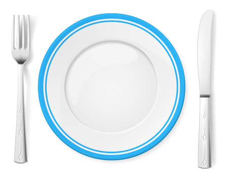 Dinner plate, knife and fork. Illustration on white background Stock Vector - 15406199