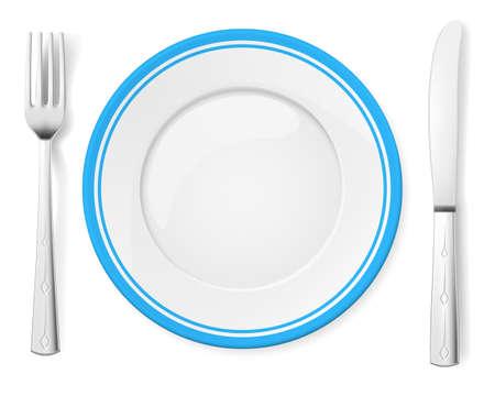 dinner setting: Dinner plate, knife and fork. Illustration on white background