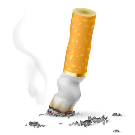 vices: Realistic cigarette butt.  Illustration on white background Illustration