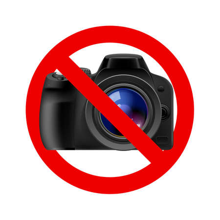 banned: No camera allowed sign.  Illustration on white background