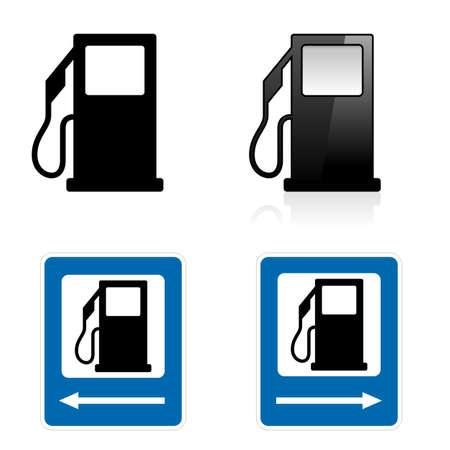 pompe: Gas Station segno. Illustrazione su sfondo bianco