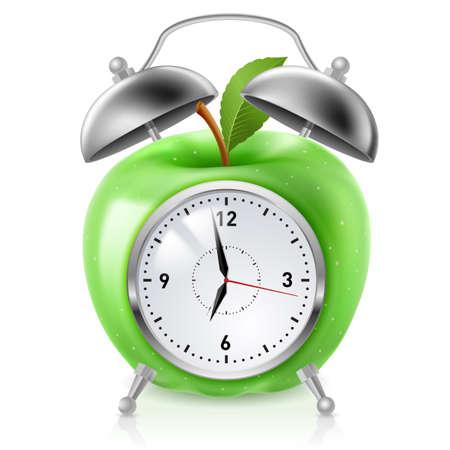 despertador: Verde manzana reloj con alarma. Ilustraci�n sobre fondo blanco para el dise�o Vectores