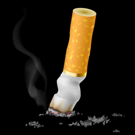vices: Realistic cigarette butt on black background