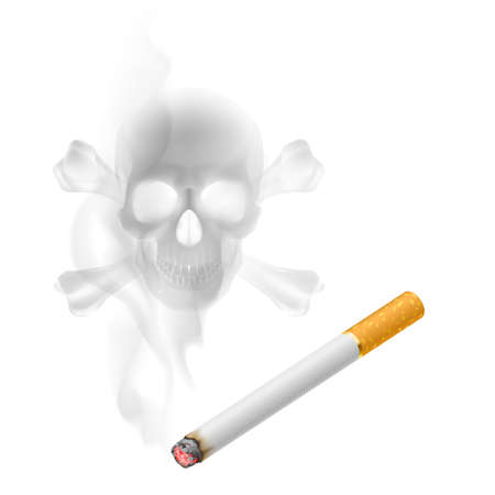 appears: Human scull appears in Cigarette Smoke on white Illustration