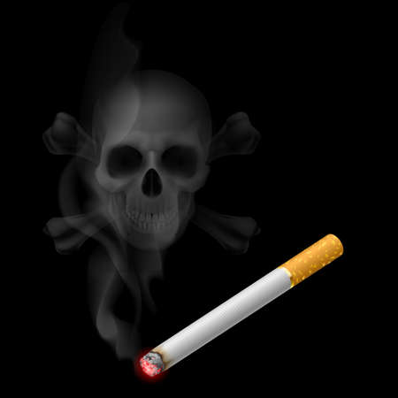 danger symbol: Human scull appears in Cigarette Smoke on black Illustration