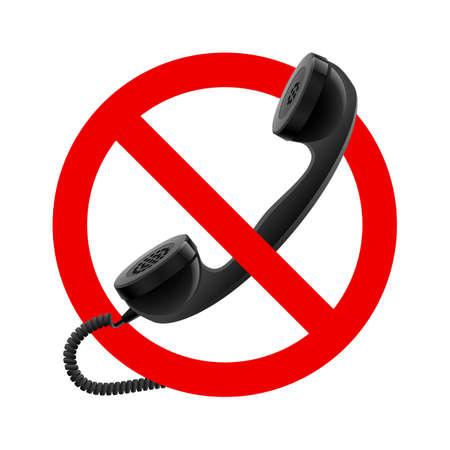 PHONE LINE: No handset allowed sign.  Illustration on white background