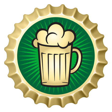 mug of ale: Beer caps with glass of beer. Illustration of designer on white background Illustration