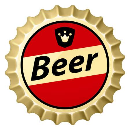 botellas de cerveza: Casquillo cerveza Roja. Ilustraci�n del dise�ador en el fondo blanco
