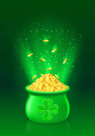 pot of gold: Illustration of pot with full of gold coins