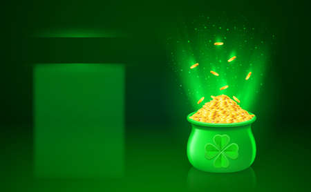 Green blank of pot with full of gold coins Vector