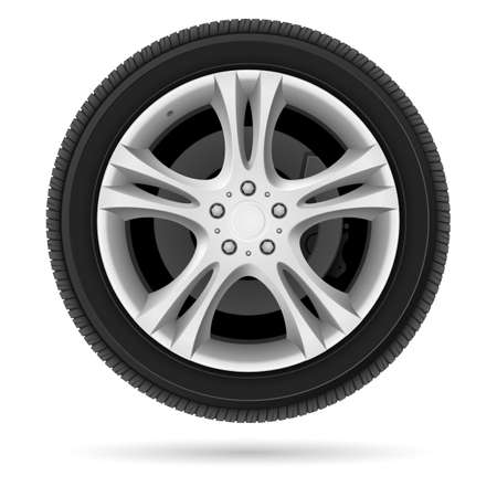 wheel: Car wheel. Illustration on white background for design