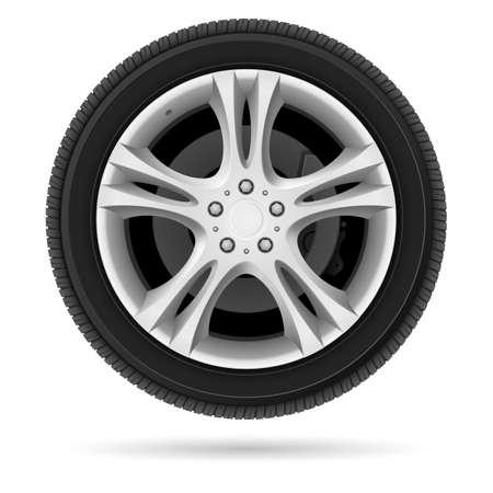 cerchione: Ruota auto. Illustrazione su sfondo bianco per il design Vettoriali