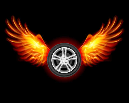hot wheels: Wheel with fire wings. Illustration on black Illustration