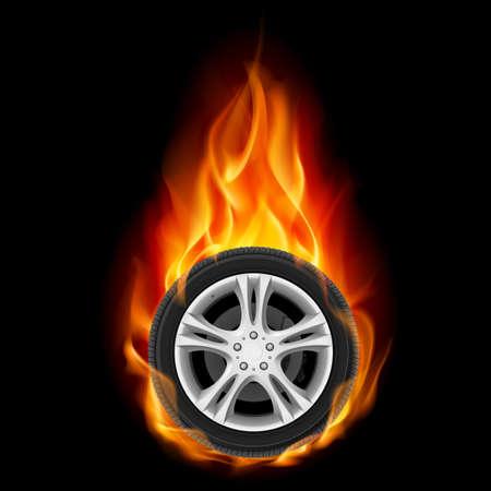 fire engine: Wheel Car on Fire. Illustrazione su nero Vettoriali