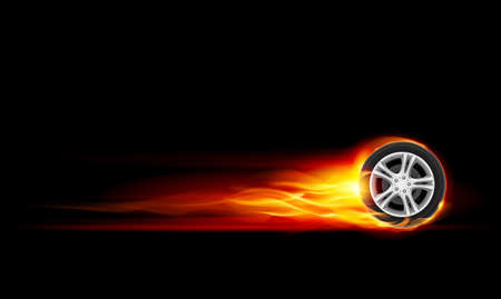 tire shop: Red Burning wheel. Illustration on black background