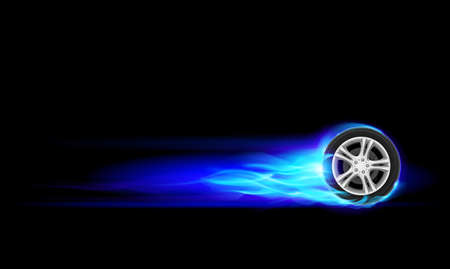 car service: Blue Burning wheel. Illustration on black background