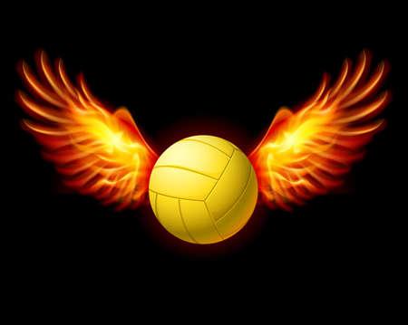 Geel Volleybal Embleem met Fire Wings. Illustratie op zwarte