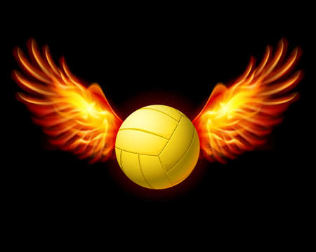 Yellow Volleyball Emblem with Fire Wings. Illustration on black