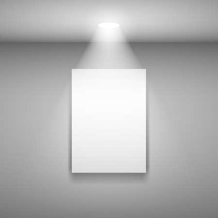 exposition art: Cadre vertical sur le mur avec la lumi�re. Illustration sur fond gris Illustration