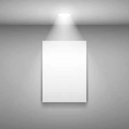 art gallery interior: Vertical Frame on the wall with light. Illustration on gray background
