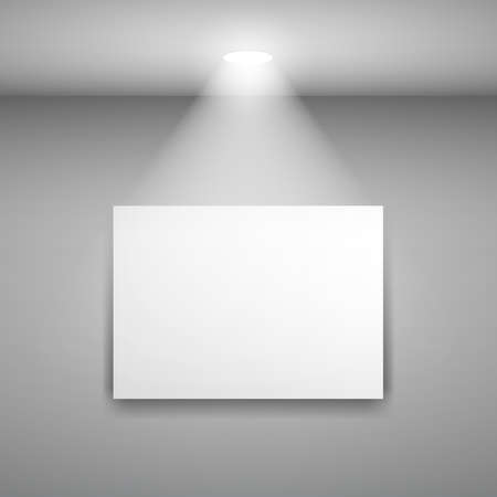 art gallery interior: Frame on the wall with light. Illustration on gray background