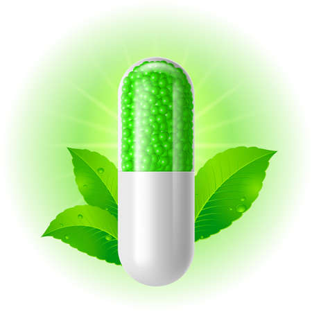 green chemistry: Organic capsule with green Leaves. Illustration on white for design Illustration