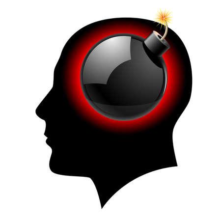 mind body: Creative ideas Bomb in Head Illustration on white Illustration