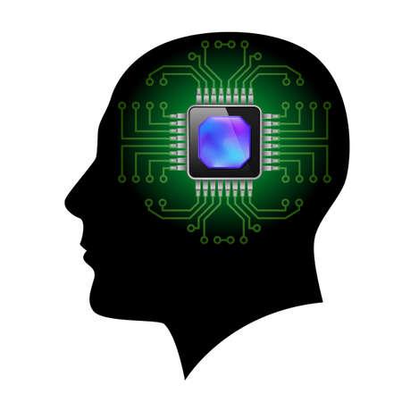 componentes electronicos: Impreso cerebro circuito. Ilustraci�n en blanco