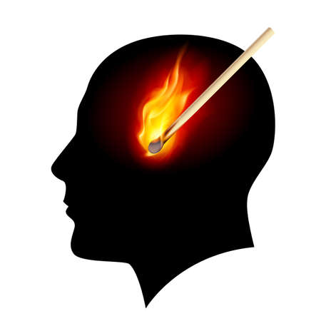 Creative ideas Burning match. Illustration on white Vector