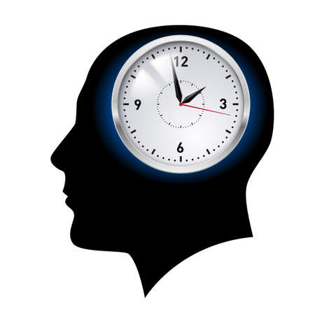 Creative ideas. Clock in head. Illustration on white Vector