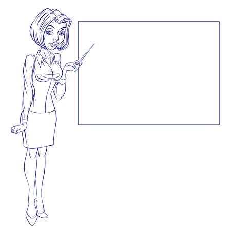 femme d affaire asiatique: Caricature d'une femme d'affaires mignonne pointant vers les tendances commerciales hausse